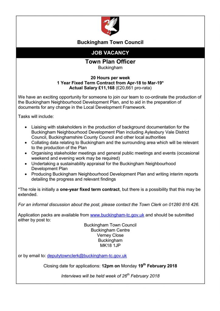 Job Vacancy Town Plan Officer Buckingham Town Council
