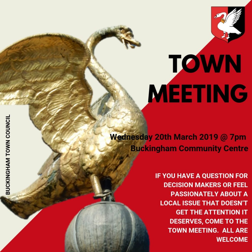 annual town meeting poster gold swan on cream poster