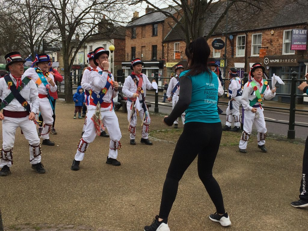 Morris Dancers trying Zumba at the Cattlepens