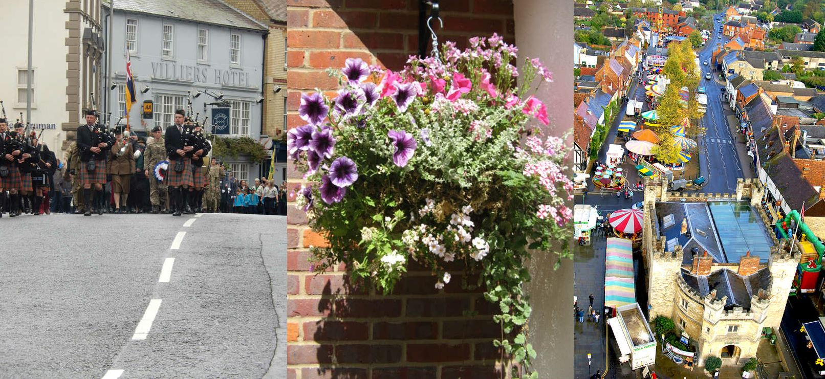 Picture collage of Christmas Parade, Hanging Baskets and Ariel photograph of the town centre during the charter fair.