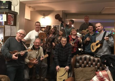 Acoustic Club members with their instruments