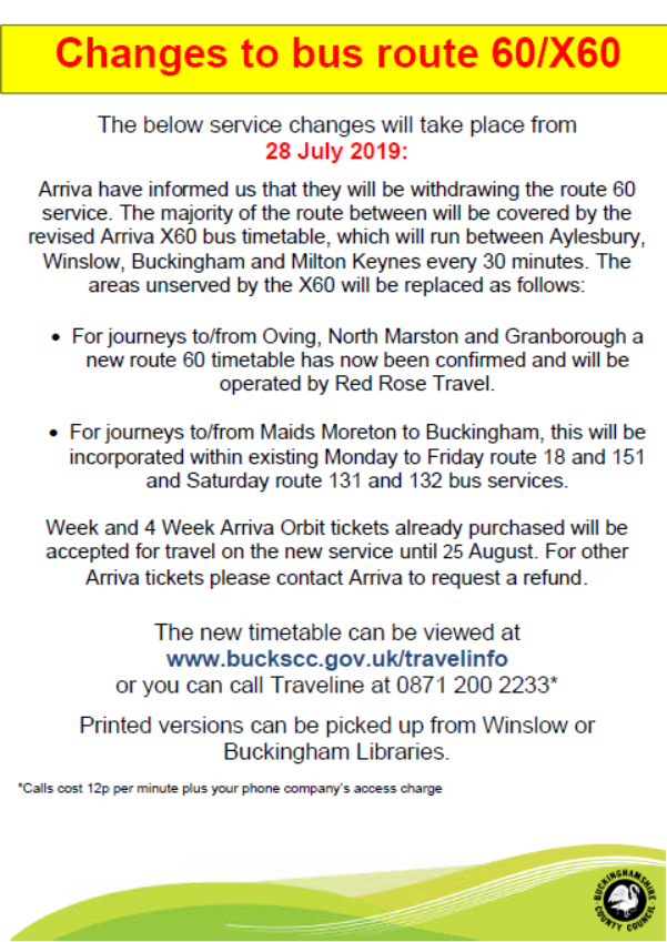 route 60/x60 bus timetable changes