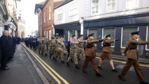 Army Cadets marching in the Remembrance Parade 2018, cadets marching