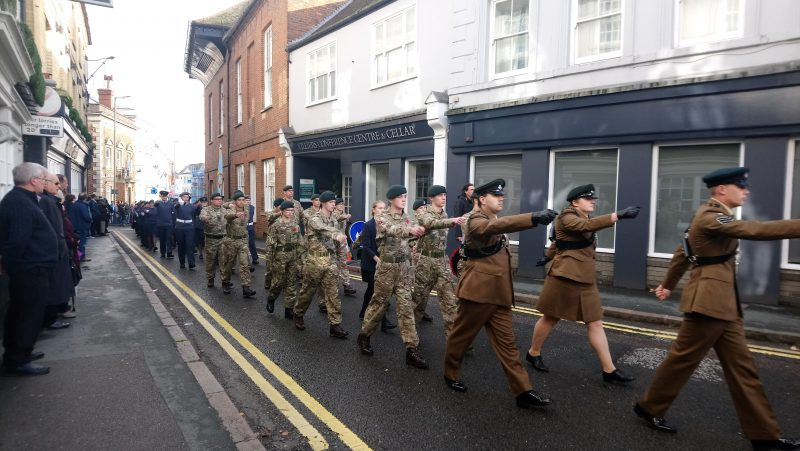 Cadets march down Castle Street on Remembrance Sunday