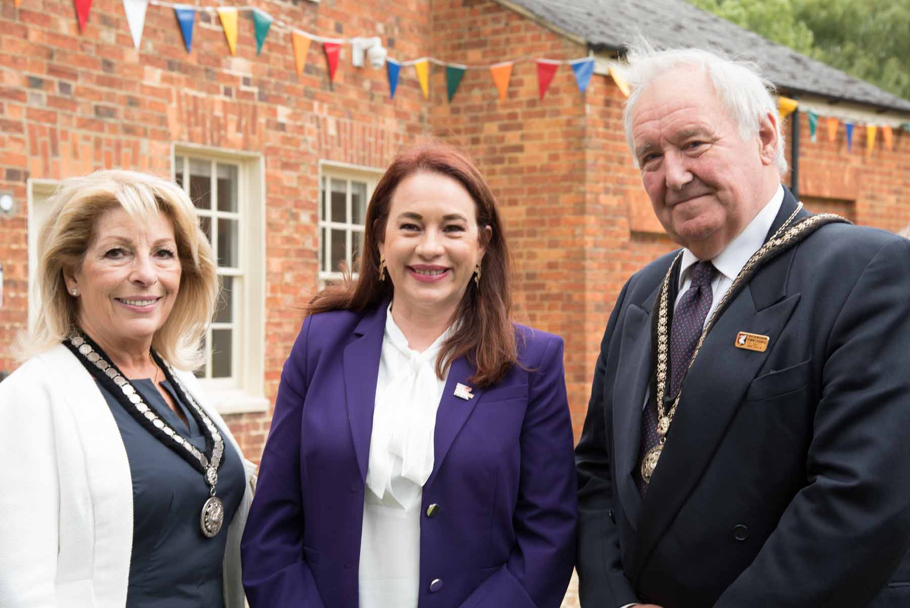Mayor, Cllr Mark Cole JP, President of the UN General Assembly, H.E. Ms. María Fernanda Espinosa and Mrs Alexandra Cole