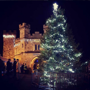 Christmas tree in front of the Old Gaol