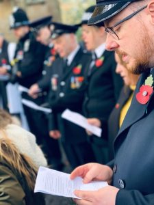 Singing hymns at the Remembrance Service