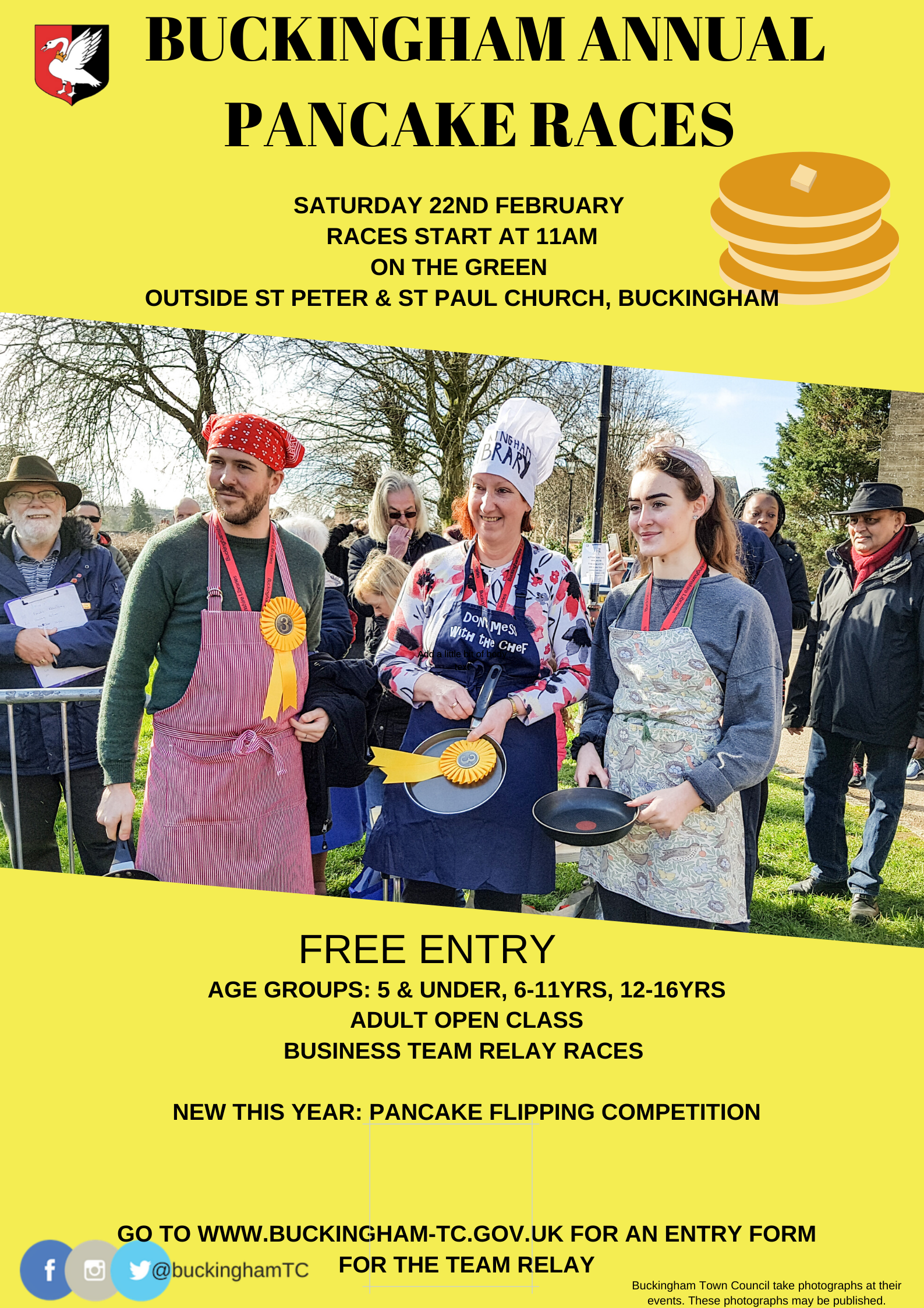 Picture of Buckingham's annual Pancake Race poster