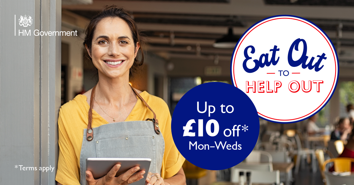 Eat out to help out, up to £10 off monday to wednesdays at participating local restaurants