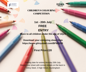 Poster for the Children's Colouring Competition organised by Gilroy Steel Solicitors. Part of the Buckingham Fringe Week