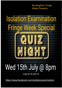 Poster advertising online Quiz Night Wednesday 15th JUly 2020 8pm