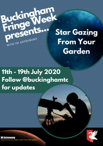 Image of poster for the Online Stargazing from your garden event. Poster shows person looking through a telescope