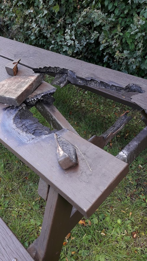 Picture of a burnt bench in Buckingham