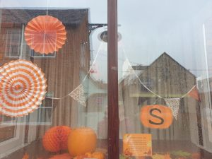 Window Display with Halloween Decorations