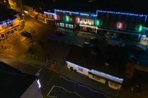 Birds Eye View of Buckingham Town Centre Lit Up